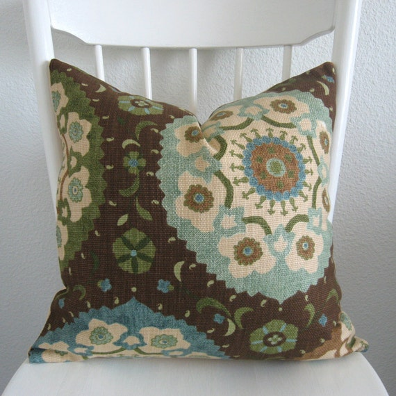 Calder Chocolate suzani brown blue green pillow cover