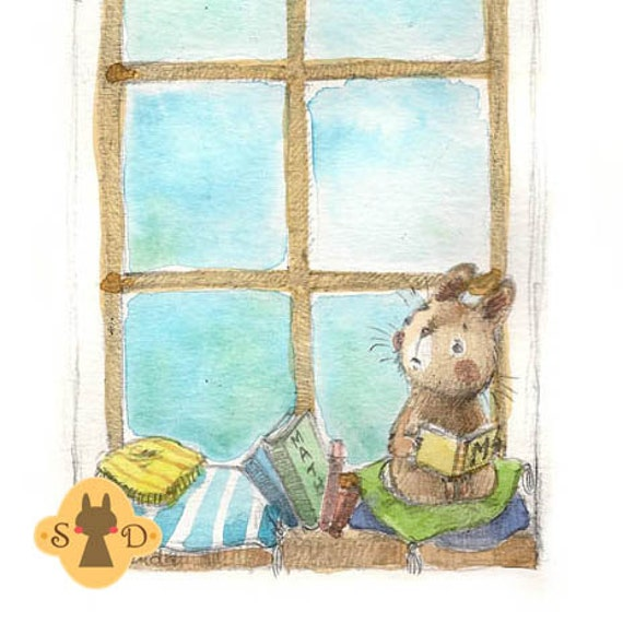 Bunny in window studying for school - math exam - original watercolor illustration