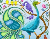The Paisley Bird Blue Green and Purple Print of Original Illustration with Funny Birds