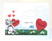 Vintage Valentine Reproduction Breathless Bear and Birds