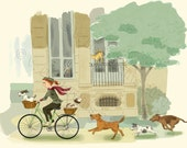 Bike Riding Girl and Dogs Print