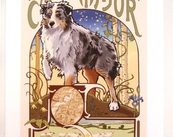 Australian Shepherd Print of Original Art Nouveau Style Illustration