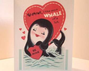Vintage Valentine Reproduction Whale Note Card