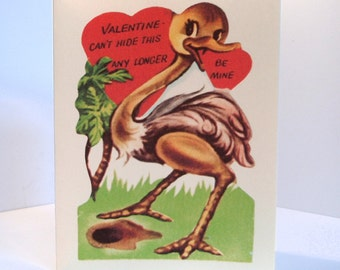 Ostrich Valentine Vintage Reproduction Bird and Heart