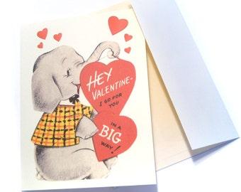 Vintage Valentine Reproduction Cute Elephant