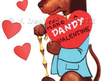 Print It Yourself Valentine Vintage Dandy Dachshund