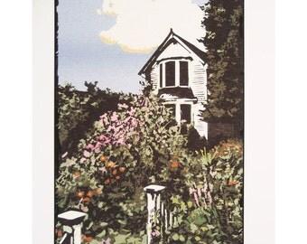Farm House and Garden Signed Print of Original Illustration