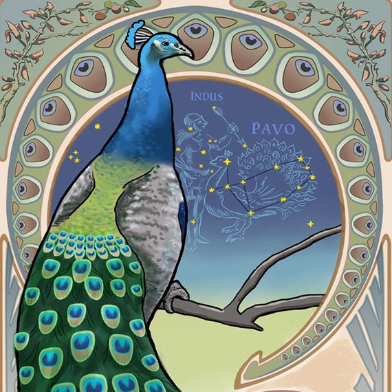 ACEO Print Celestial Creatures - Pavo the Peacock