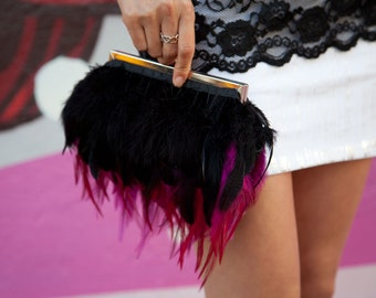 Pink Feather Purse Clutch with Hot pink and Black feathers and Jeweled Clasp