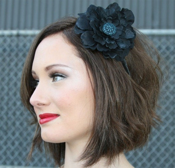 Black Flower Headband with Vintage Blue Button Embellishment