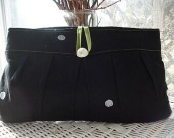 Clutch purse in black linen, evening bag, bridesmaid prom bridal wedding