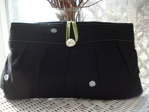 Black linen clutch purse, evening bag, bridesmaid gift, prom purse, bridal wedding, polka dot, embroidered