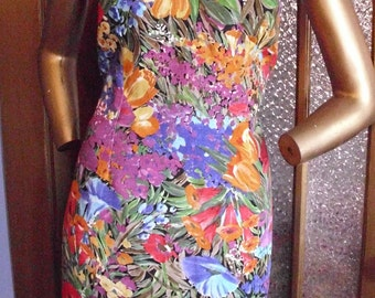 Colorful Floral Print Dress Size Large