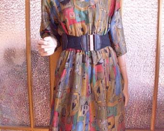 50s Painterly Print Silk Dress