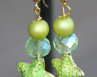 Lime Green Glass and Starfish Earrings