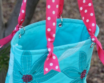Turquoise and Hot Pink Flower with Swavoski Crystals Tote Hot Pink Polka Dot Ribbon Straps