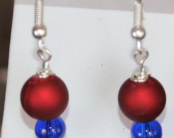 Royal Blue and Red Dangle Earrings School Spirit