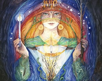 Celtic Goddess Saint Brigid signed fine art reproduction Helena Nelson Reed