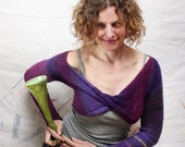 Purple Passion Flower Shrug, infinity with sleeves - cropped bolero wrap front sweater - WrapturebyInese
