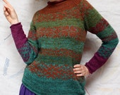 Thumbhole Campfire Sweater - Redwood Forest Serendipity in M - a blend of wool, silk, and super soft kid mohair
