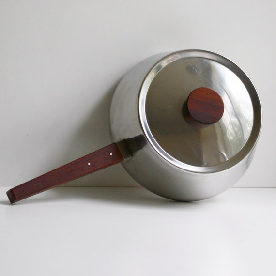 Vintage Danish Modern Fondue Pot by Scanli of Denmark - Stainless and Rosewood