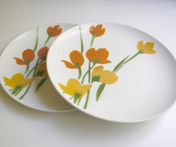 Vintage Dinner Plates by Daphne Ironstone - Yellow & Orange - Set of Two