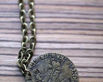 SALE...The Chicken Ranch Brass Brothel Token Necklace