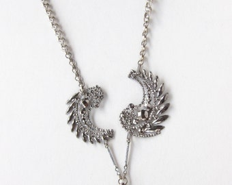 Doves Resting on the Waves — deconstructed antique cut-steel buckle and love token assemblage necklace