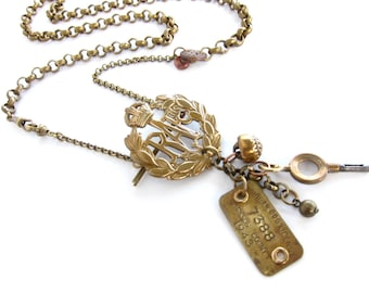 A Soldier's Things — antique vintage assemblage charm necklace