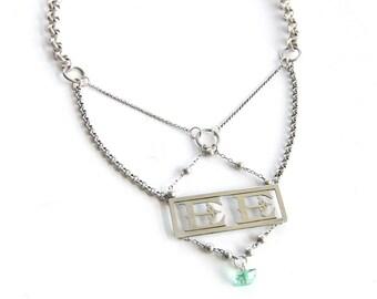 E.E. — antique initials assemblage necklace