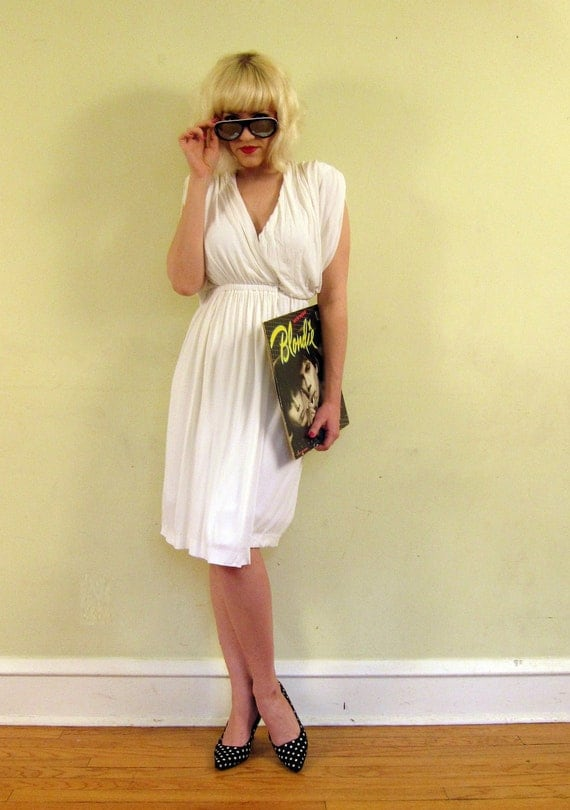 RESERVED FOR MADRAGUDA Vintage 1970s Halston White Wrap Dress in Draped Jersey Crepe