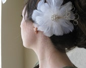 JORDAN -- Gorgeous Wedding White Feather Flower Fascinator Bridal Hairpiece w/ Champagne Peacock Herl and Pearl Rhinestone Center