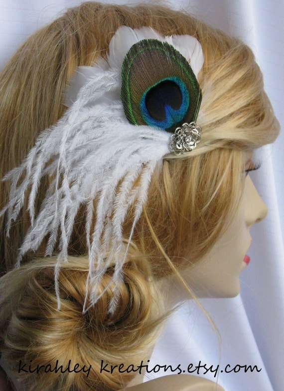 LINNET -- Gorgeous Natural Peacock and White Ostrich Feather Fascinator, Wedding Bridal Hair Clip Headpiece -- Ship Ready and SALE