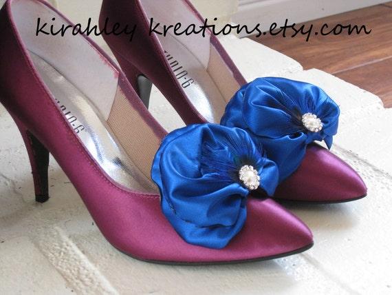 Something Royal Cobalt Blue Satin Vibrant Peacock Feather Bride Bridal Wedding Prom Shoes Shoe ETTA Clips Pearl Rhinestone Embellishments