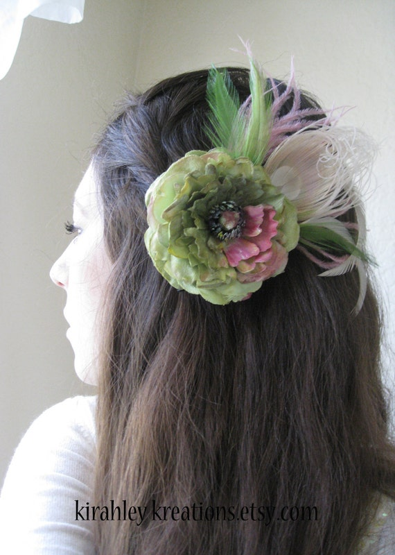 ADONIA -- Beautiful Bridal Wedding Ranunculus Flower and Peacock Feather Hair Clip in Lime Green, Mauve Pink & Champagne -- Ship Ready