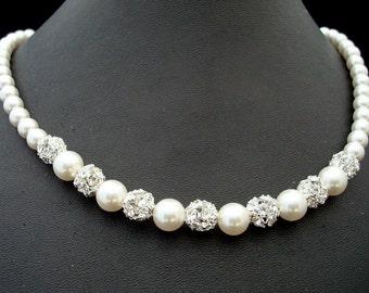 Bridal Pearl Necklace, Ivory Swarovski Pearls, Bridal Classic Necklace, Vintage Style, rhinestone Necklace, Wedding Pearl Necklace, CLAIRE