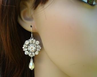 Pearl earrings ivory swarovski pearl bridal earrings Rhinestone Wedding Earrings Bridal Chandeliers earrings statement earrings  COLLEEN