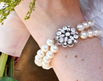Pearl Rhinestone Bracelet,Bridal Bracelet,Rhinestone Bridal Bracelet,Swarovski Pearls,Statement Bridal Bracelet, Bridal Cuff,Pearl,ALEXANDRA