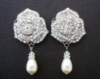 Pearl earrings Bridal Earrings Ivory swarovski Pearls Pearl Rhinestone Earrings Bridal Rhinestone Earrings Statement wedding Earrings ROSIE