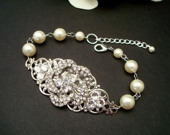 Pearl Bridal Bracelet, Bridal Rhinestone Bracelet, Ivory Swarovski Pearls,Pearl Rhinestone Bracelet,Statement Bridal Bracelet,Cuff,ROSENDE