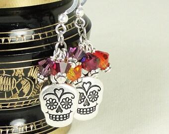 Day of the Dead Earrings Dia de los Muertos Jewelry Sugar Skull Earrings in Sterling and Crystal Silver Latin Jewelry