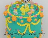 Day of the Dead Fake Cake Mixed Media Sculpture
