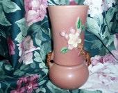 30s Antique Roseville Pottery Handled Vase Apple Blossom