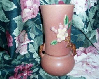 Antique 30s Roseville Pottery Handled Vase Apple Blossom