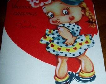 Antique Original  50s Valentine Greeting Card To Teacher Stonybrook USA