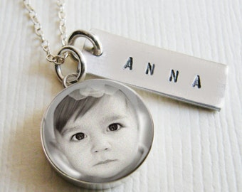 Mothers Necklace Personalized Custom Photo Memory Charm Small 1/2 inch Pendants in Sterling Silver with Hand Stamped Name or Date Tag