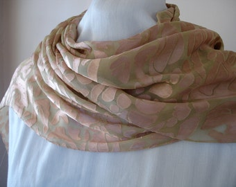 Light Green and Brown Floral Abstract Silk Scarf with no fringe