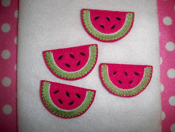 Ready to Ship) Machine Embroidered Hand made (4) Felt Watermelon Snap clip Embellishments / appliques
