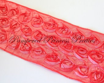 1yd-Coral-Rosette Ribbon-Non Wired