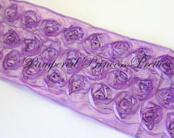 1yd-Lavender-Rosette Ribbon-Non Wired